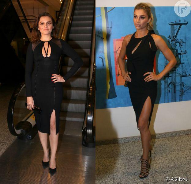 Monica Iozzi e Grazi Massafera apostaram em looks pretos e nada básicos em premiação nesta terça-feira, dia 15 de março de 2016