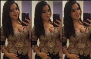 Thais Fersoza mostra look de grávida, marcando a barriga: 'Ao show do papai'
