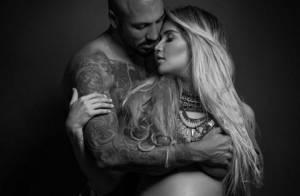 Aline Gotschalg mostra barriga de grávida em foto com Fernando Medeiros: 'Amo'