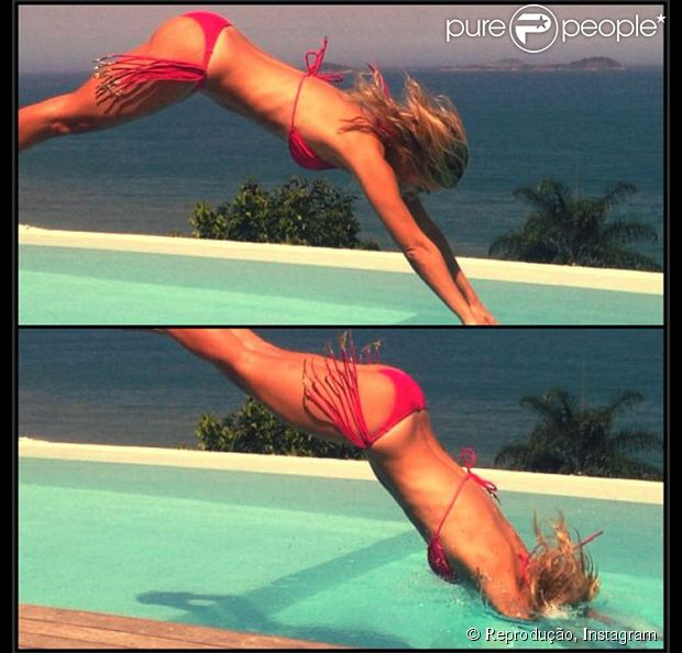 O domingo, 13 de outubro de 2013, foi de sol e piscina para Carolina Dieckmann. Em seu Instagram, a atriz mostrou fotos de um mergulho e exibiu seu corpo escultural