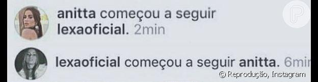 Lexa e Anitta passaram a se seguir no Instagram