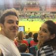 Sabrina Petraglia, no ar na novela 'Haja Coração' como a romântica Shirley, curtiu a Olimpíada Rio 2016 na companhia do namorado, Rámon Velásquez