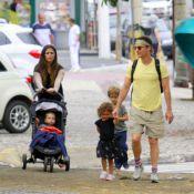 Matthew McConaughey e Camila Alves vão a churrascaria com os filhos em BH