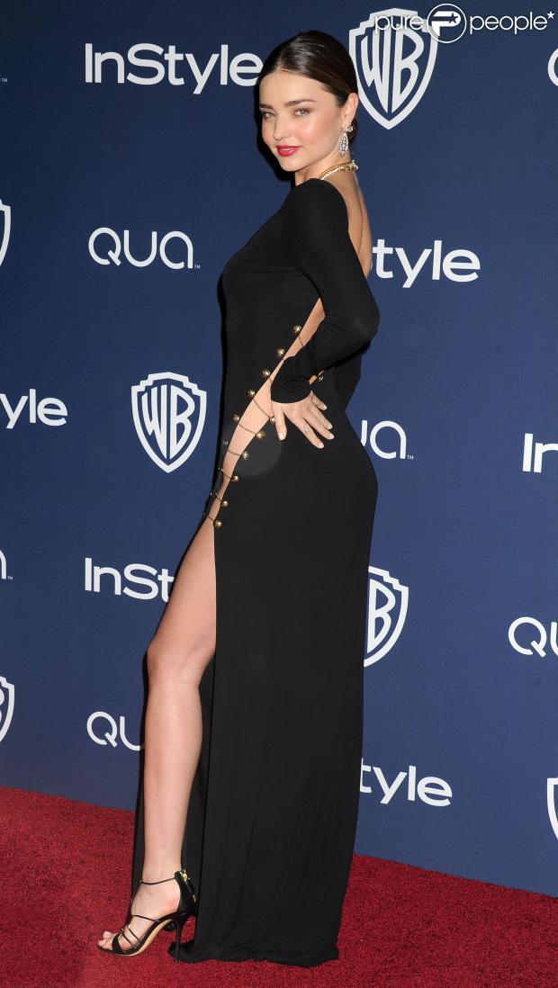 Miranda Kerr aposta em vestido Emilio Pucci para a festa pós-Globo de Ouro 2014 decotado e precisa abrir mão da calcinha