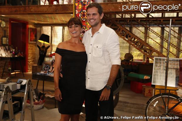Giovanna Antonelli com o marido e diretor, Leonardo Nogueira, no lançamento da novela 'Em Família' na manhã desta quarta-feira, 22 de janeiro de 2014 no Rio de Janeiro