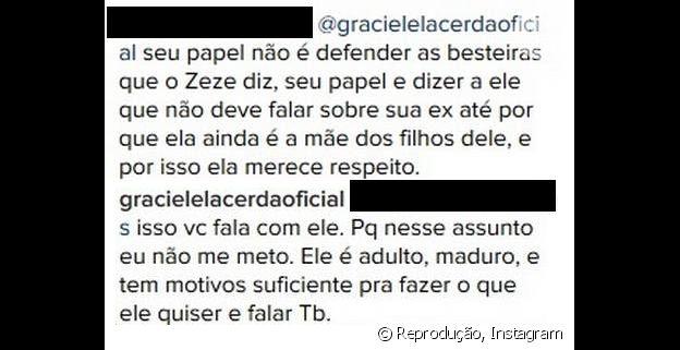 Graciele Lacerda responde internauta após ser incentivada a ajudar Zezé a melhorar sua relação com Zilu