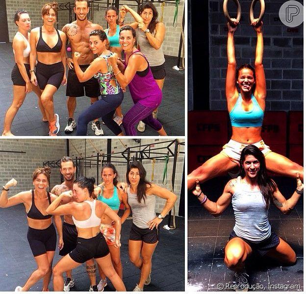 Bruna Marquezine e Giovanna Antonelli praticam Crossfit neste domingo, 16 de março de 2014, ao lado de amigas no Rio de Janeiro