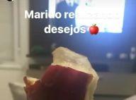 Grávida de 9 meses, Andressa Suita come maçã do amor: 'Marido realizando desejo'