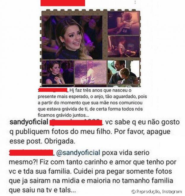 Sandy reprova postagem de fã com fotos do filho, Theo, nesta terça-feira, dia 27 de junho de 2017