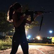 Juliana Paes surge armada com fuzil como Bibi em 'A Força do Querer': 'Perigosa'