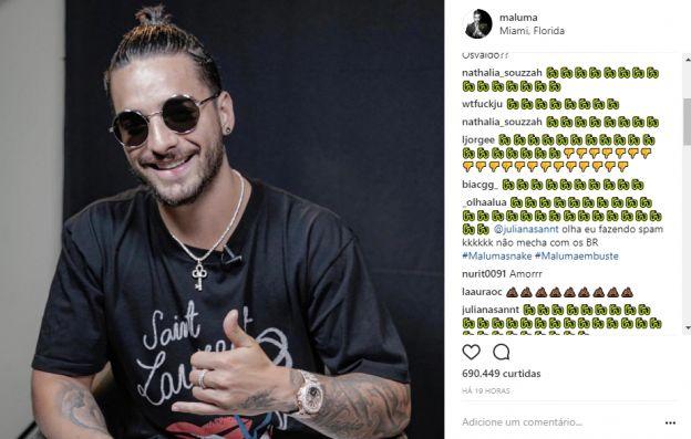 Maluma é bombardeado por fãs de Anitta em seu Instagram