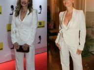 Gente como a gente: Maitê Proença repete terno branco um ano depois. Compare!