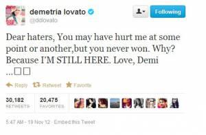 Demi Lovato manda recado para 'invejosos' no Twitter