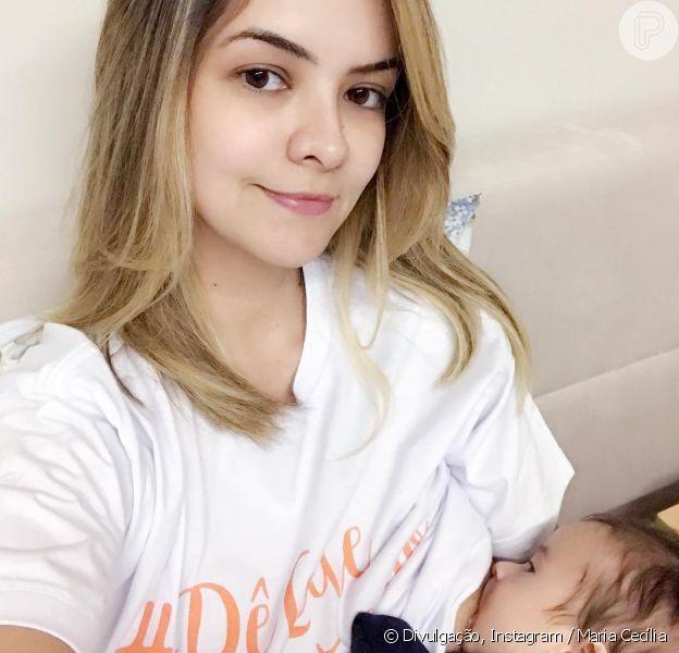 Mulher de Rodolfo, Maria Cecília falou sobre a sensação de amamentar filho, Pedro, na terça-feira, 1 de agosto de 2017
