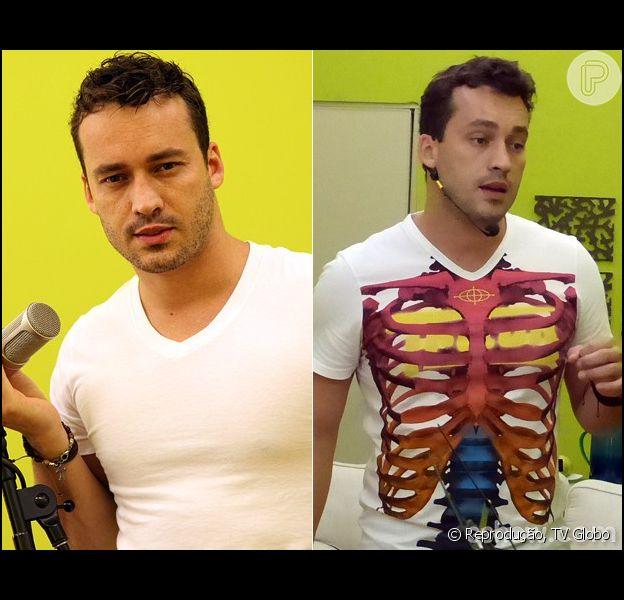 Rodrigo Andrade prede três quilos em uma semana. O ator é um dos participantes do quadro 'Artista Completão', do 'Domingão do Faustão' (10 de abril de 2014)