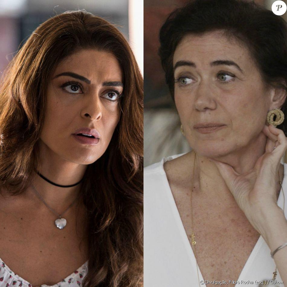 Bibi (Juliana Paes) pede ajuda a Silvana (Lilia Cabral) para se esconder, cobrando o favor que lhe fez, na novela 'A Força do Querer', em setembro de 2017