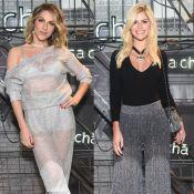 Giovanna Ewbank e Lala Rudge optam por brilhos e transparência em evento de moda