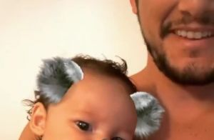 Bruno Gissoni brinca com a filha, Madalena, em rede social: 'Muito tempo livre'