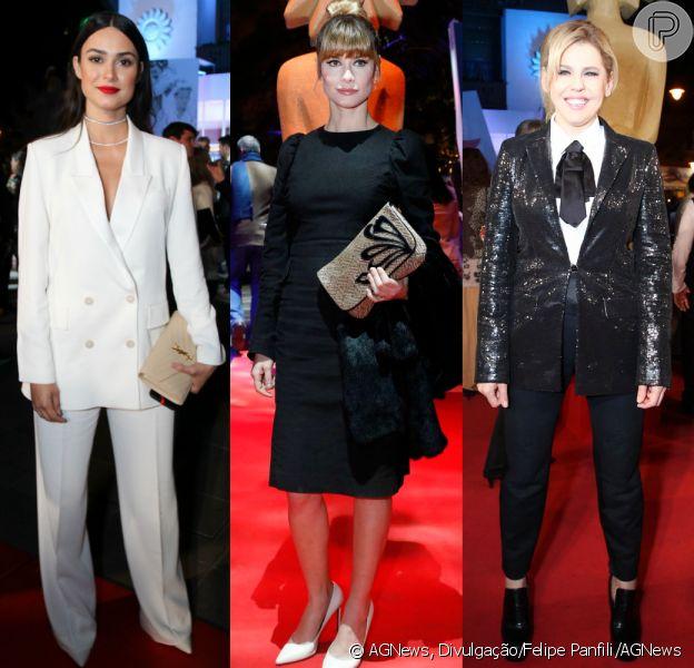 Thaila Ayala, Alinne Moraes e Bárbara Paz apostaram em looks em preto e branco para prestigiar o 45º Festival de Cinema de Gramado