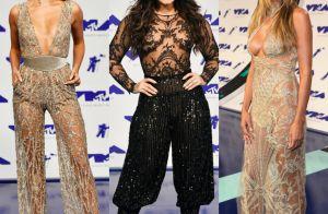 Looks com transparência e bordado brilham no tapete vermelho do VMA 2017. Fotos!