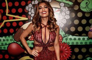Juliana Paes aposta em look ousado para coroação na Grande Rio: 'Muito feliz'