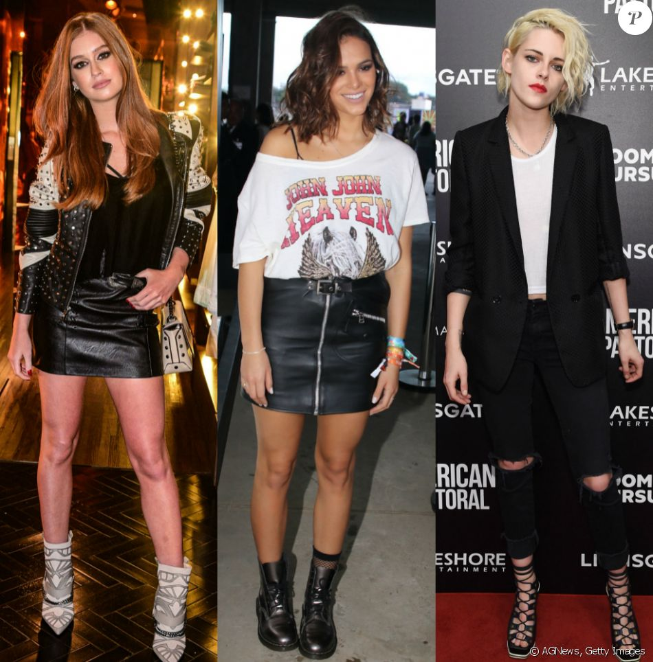Marina Ruy Barbosa, Bruna Marquezine e Kristen Stewart são adeptas de elementos rocker nas produções. Veja mais looks!