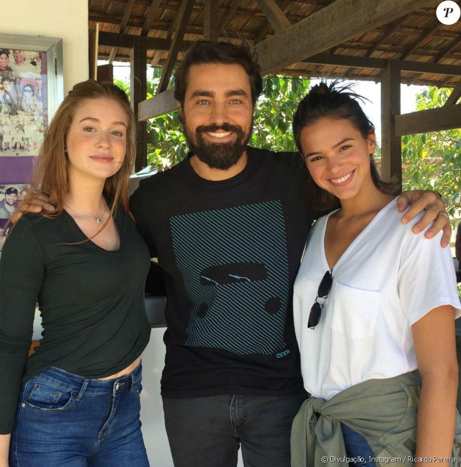 Ricardo Pereira encontrou Marina Ruy Barbosa e Bruna Marquezine em preparação para novela nesta quarta-feira, 13 de setembro de 2017