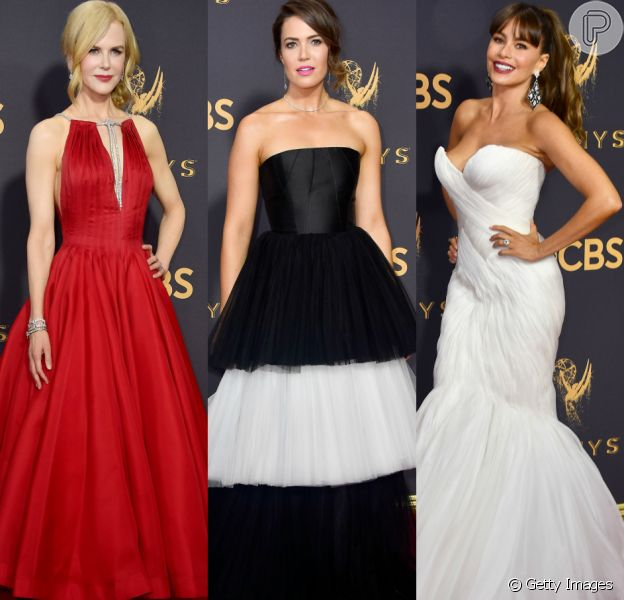 Nicole Kidman, Mandy Moore e Sofia Vergara elegeram vestidos volumosos para a 69ª edição do Emmy Awards. Veja mais looks!