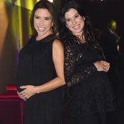 Patrícia Abravanel e a irmã Renata exibem gravidez em evento: 'Meninas chegando'