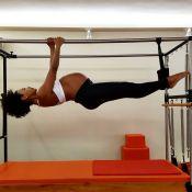 Sheron Menezzes faz acrobacia no pilates aos 8 meses de gravidez:'Gosta de voar'