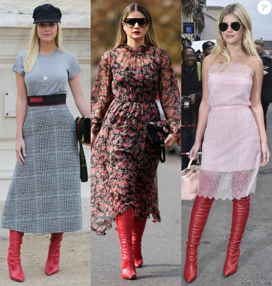 Lala Rudge e Thássia Naves compõem looks com bota vermelha na Semana de Moda de Paris. Veja as produções!