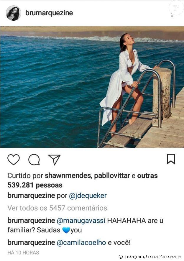 Bruna Marquezine ganha curtida de Shawn Mendes em foto no Instagram