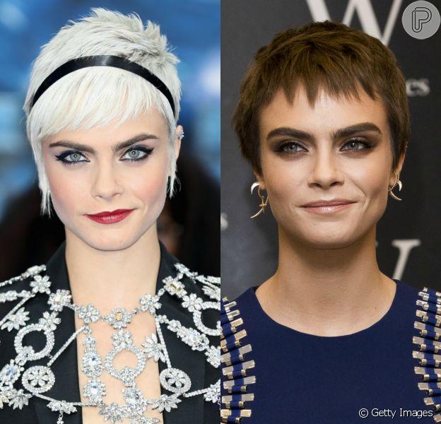 Antes e depois: Cara Delevingne abandona cabelo loiro e adota fios castanhos. Veja fotos!