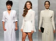 Famosas investem em looks brancos, off-white e creme em festa de novela. Fotos!