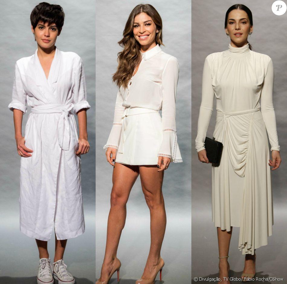 Julia Dalavia, Grazi Massafera e Tainá Müller usaram looks claros no evento da novela 'O Outro Lado do Paraíso'. Veja mais produções!