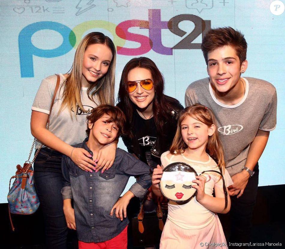 1d8bdb23d0af3 Larissa Manoela posa com ex João Guilherme e Lorena Queiroz em evento nesta  segunda-feira