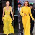 Gigi Hadid e Blake Lively apostaram no amarelo, cor tendência da estação, para compor seus looks. Veja mais famosas que estão investindo na tonalidade!