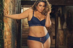 Modelo plus size Fluvia Lacerda posa sensual em campanha de lingerie. Veja fotos