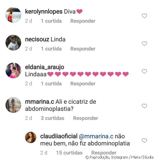 Ex-BBB Maria Cláudia negou cirurgia plástica no abdômen em seu perfil no Instagram
