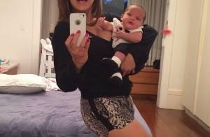 Nivea Stelmann mostra boa forma ao posar com a filha recém-nascida