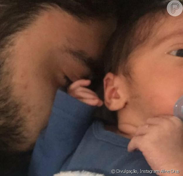 Aline Dias comemorou a primeira semana de vida do filho, Bernardo, fruto do seu relacionamento com Rafael Cupello: 'Papaizinho apaixonado'