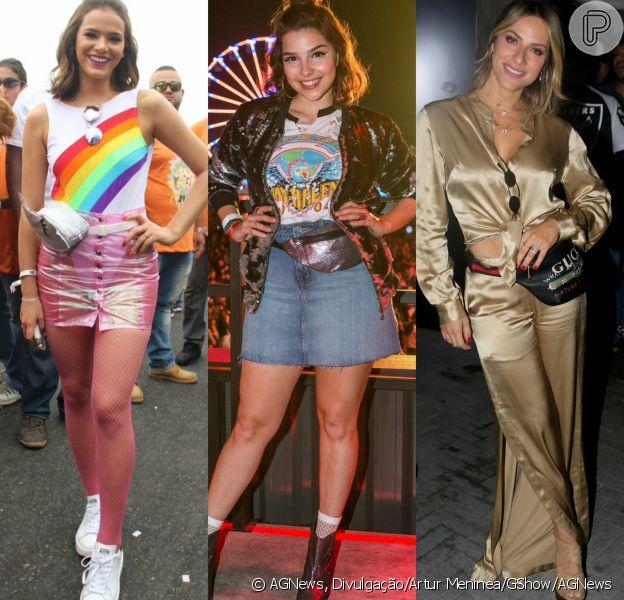 Bruna Marquezine, Gabriela Medvedovski e Giovanna Ewbank são adeptas de looks com pochete. Veja mais famosas que adoram a tendência!