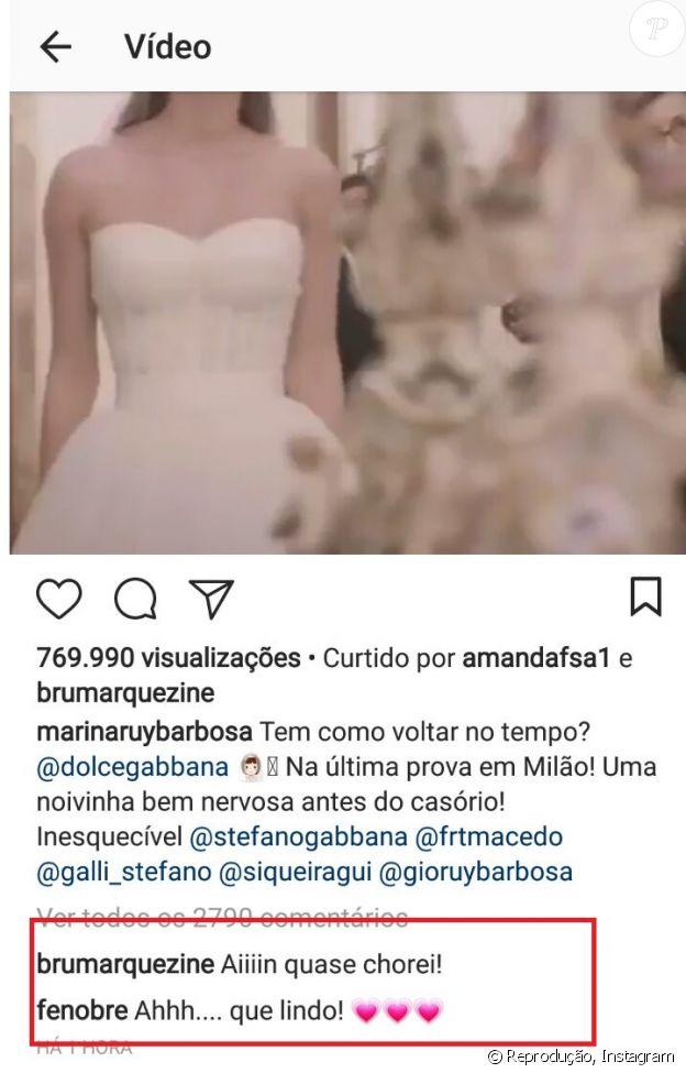 Marina Ruy Barbosa ganha elogio de Bruna Marquezine em vídeo de prova de seu vestido de noiva