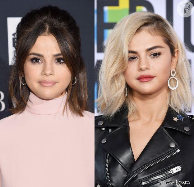 Selena Gomez surge com os cabelos loiros no American Music Awards, em Los Angeles, em 19 de novembro de 2017