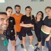 Bruna Marquezine treina com Rafa Brites, Tatá Werneck e Fiorella: 'Choques'