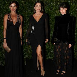 Carla Salle. Foto do site da Pure People que mostra Deborah Secco, Flávia Alessandra e Carla Salle usam preto em baile de gala