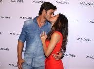 Isis Valverde troca beijos com namorado, André Resende, em evento de moda em SP