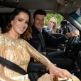 vera Viel usou vestido em tom de dourado da grife Fabiana Milazzo no casamento de Ticiane Pinheiro e Cesar Tralli