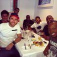 Neymar postou uma foto em seu Instagram, nesta segunda-feira, 19 de maio de 2014, ao lado de amigos famosos como Thiaguinho, Thiago Gagliasso e Rafael Zulu, durante um almoço animado no Rio de Janeiro