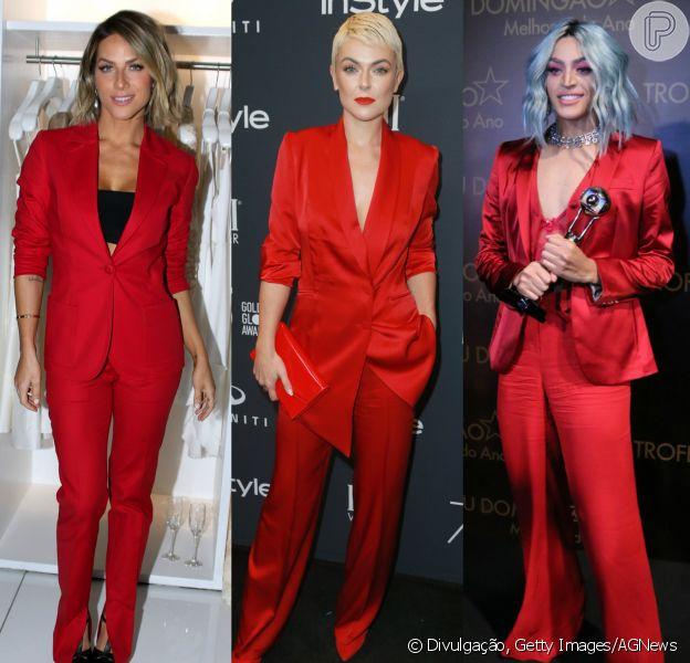 Giovanna Ewbank, a atriz canadense Serinda Swan e Pabllo Vittar já apostaram na tendência da alfaiataria vermelha